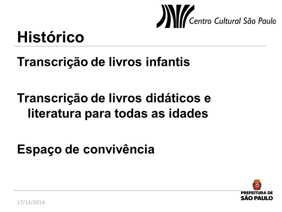 Transcrição de livros infantis Transcrição de livros didáticos e literatura para todas as idades Espaço de convivência 17/12/2014