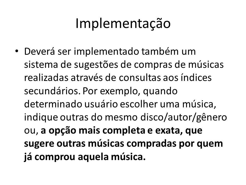 Implementação Deverá ser implementado também um sistema de sugestões de compras de músicas realizadas através de consultas aos índices secundários. Po