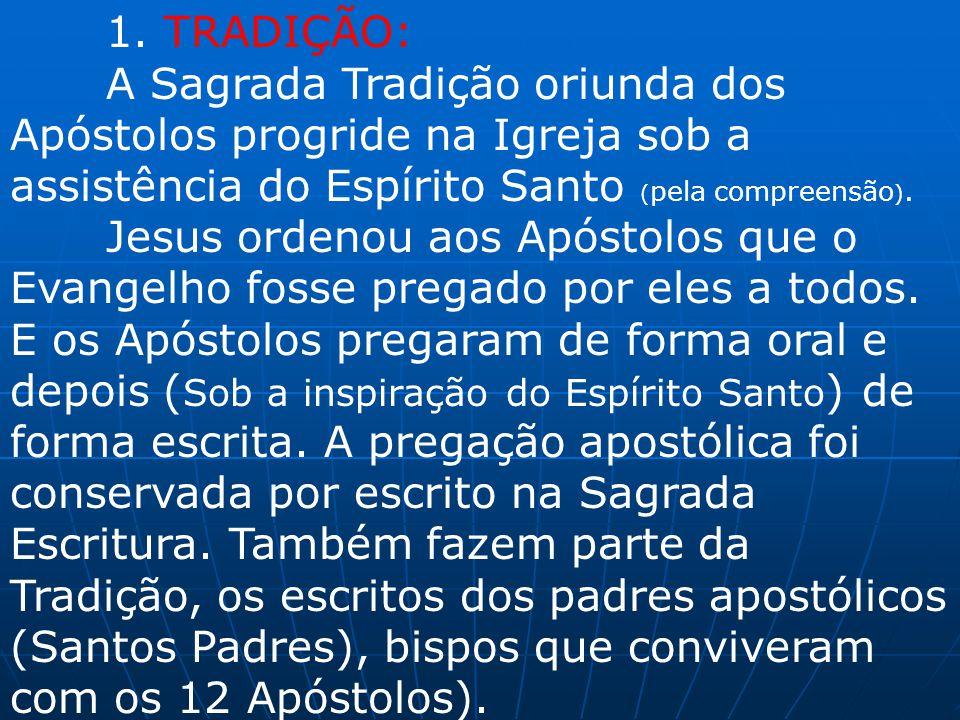 1. TRADIÇÃO: A Sagrada Tradição oriunda dos Apóstolos progride na Igreja sob a assistência do Espírito Santo ( pela compreensão ). Jesus ordenou aos A
