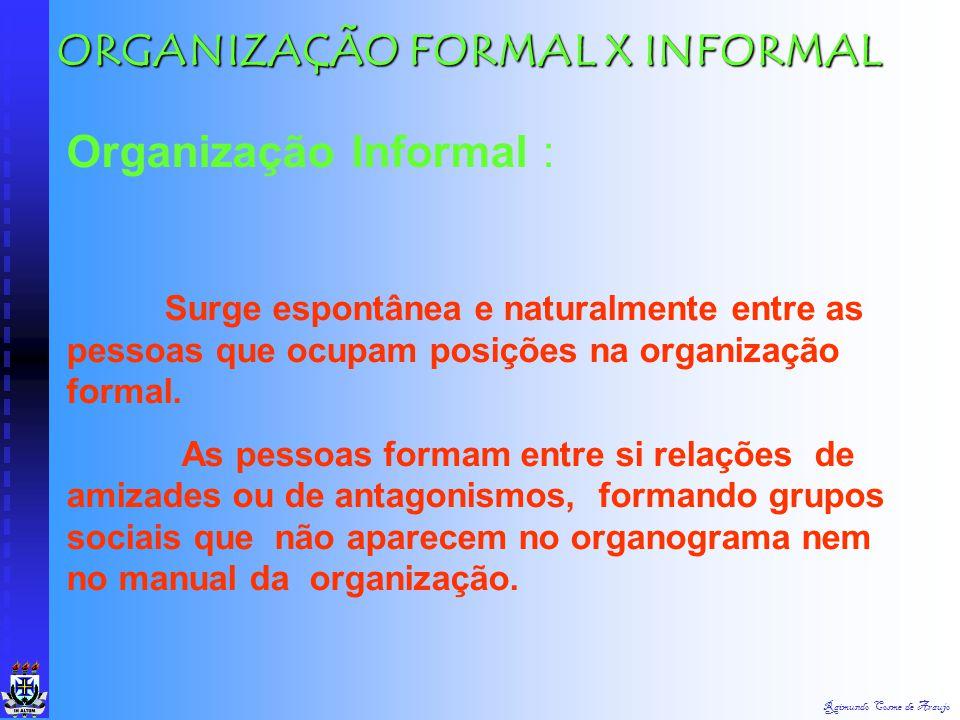 Raimundo Cosme de Araujo Uma organização, como unidade social, é um sistema onde ingressam recursos (materiais, dinheiro, pessoas e informações) que r