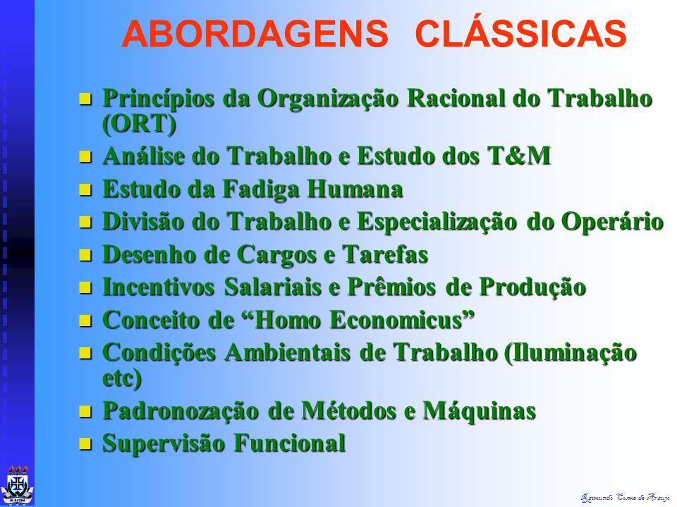 Raimundo Cosme de Araujo Organização Racional do Trabalho Organização Racional do Trabalho Def.: Tentativa de Substituir Métodos Científicos em Todos