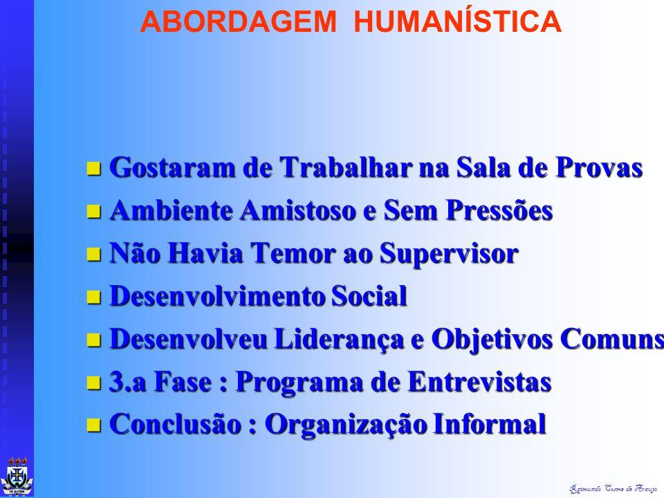 Raimundo Cosme de Araujo ABORDAGEM HUMANÍSTICA 2.a Fase : 2.a Fase :  1.0 Período :Estabelecimento da Capacidade Produtiva - 2.400 un/sem/trab - (2)