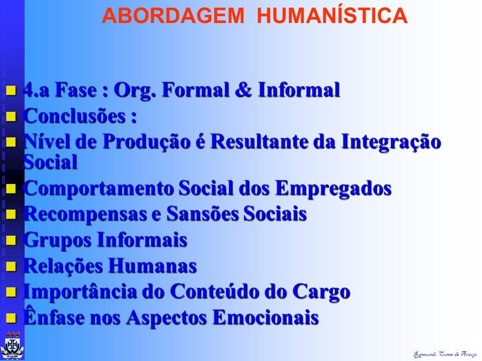 Raimundo Cosme de Araujo ABORDAGEM HUMANÍSTICA Gostaram de Trabalhar na Sala de Provas Gostaram de Trabalhar na Sala de Provas Ambiente Amistoso e Sem