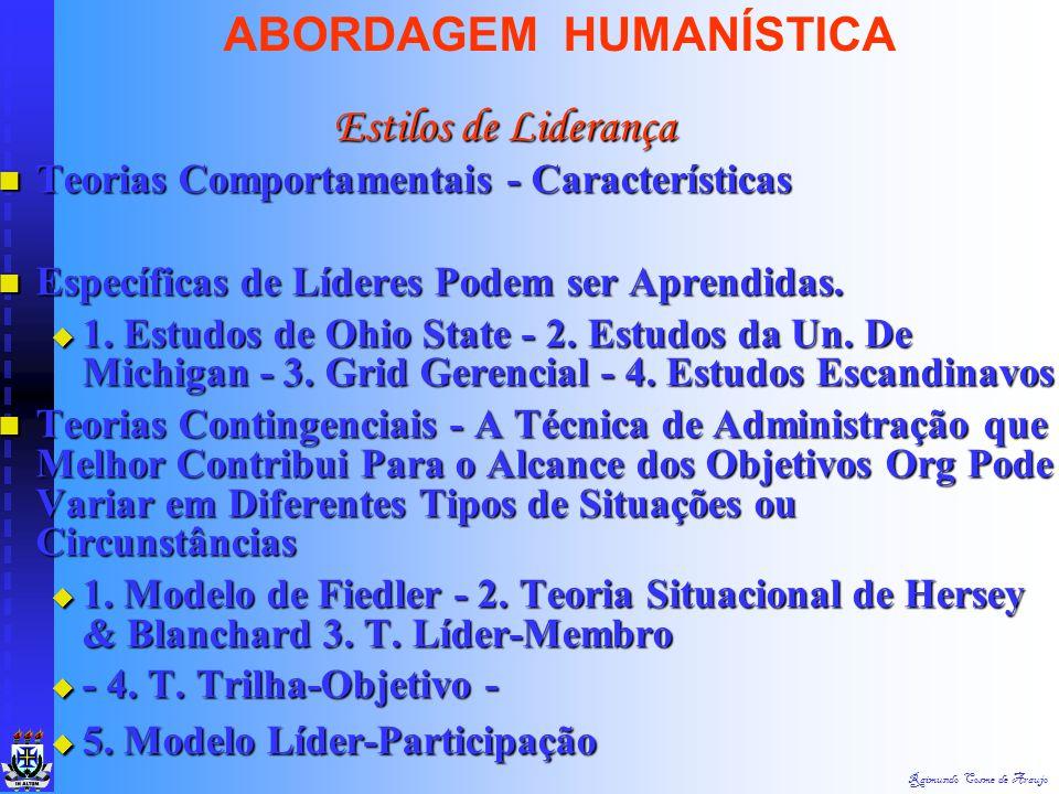 Raimundo Cosme de Araujo ABORDAGEM HUMANÍSTICA Teorias dos Traços - Características Marcantes na Personalidade do Líder (Ambição e Energia, Desejo de