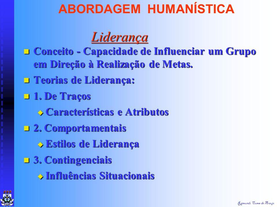 Raimundo Cosme de Araujo ABORDAGEM HUMANÍSTICA Poder - Capacidade de Exercer Influência Poder - Capacidade de Exercer Influência Autoridade - Poder Le