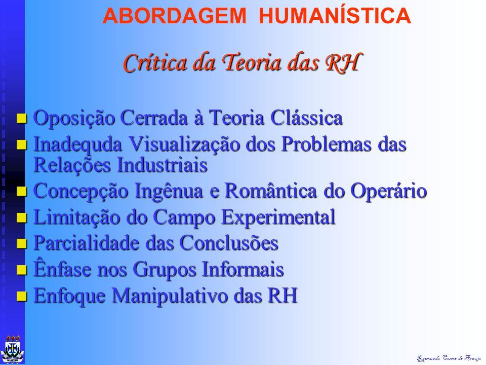 Raimundo Cosme de Araujo ABORDAGEM HUMANÍSTICA Origens Origens  1. Interesses Comuns  2. Interação Provocada Pela Própria Organização Formal  3. Fl