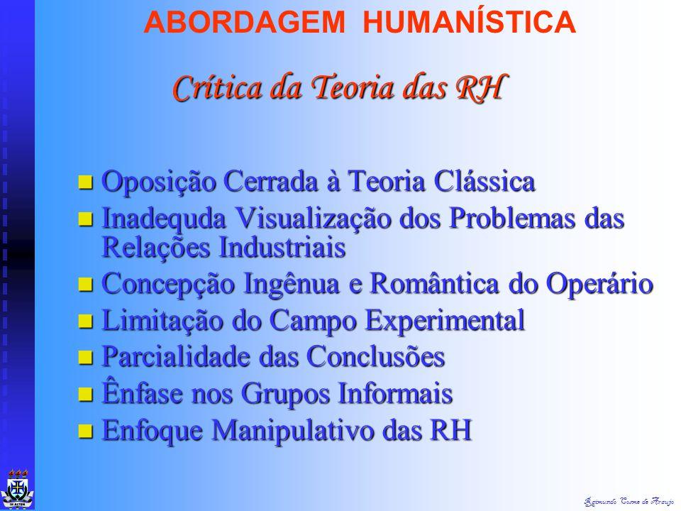 Raimundo Cosme de Araujo ABORDAGEM HUMANÍSTICA Oposição Cerrada à Teoria Clássica Oposição Cerrada à Teoria Clássica Inadequda Visualização dos Proble