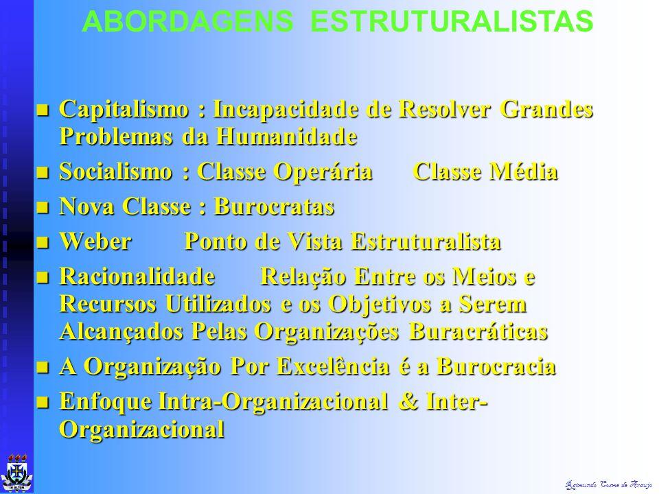 ABORDAGENS ESTRUTURALISTAS Modelo Burocrático Modelo Burocrático Contra Práticas Tendenciosas & Parcialistas Contra Práticas Tendenciosas & Parcialist