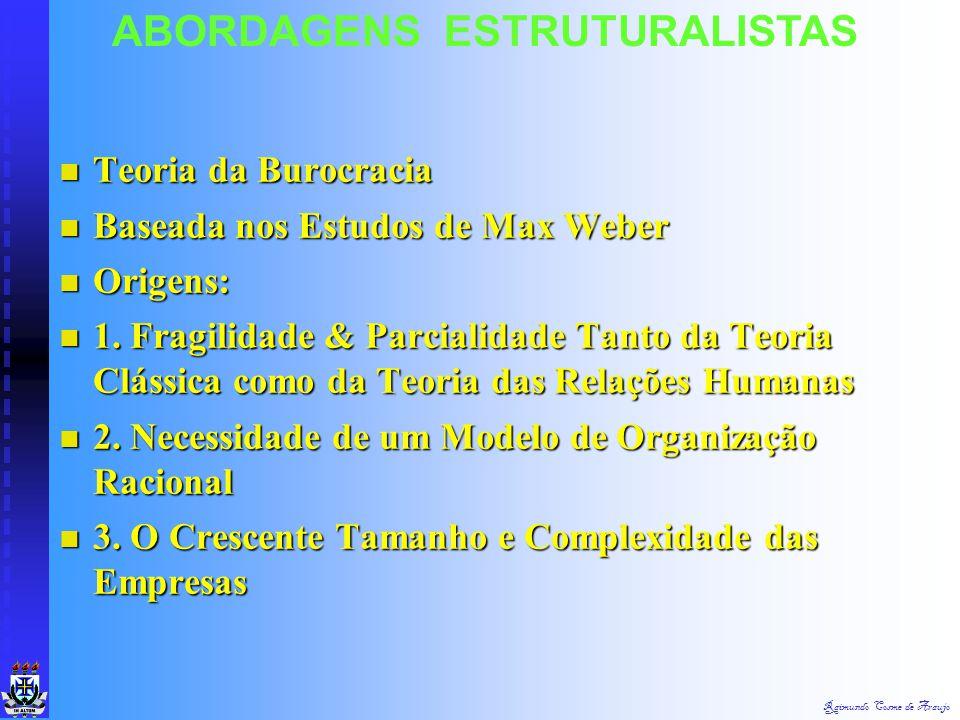 Raimundo Cosme de Araujo ABORDAGENS ESTRUTURALISTASAbordagemEstruturalista Teoria da Burocracia TeoriaEstruturalista Ênfase na Estrutura Ênfase na Est