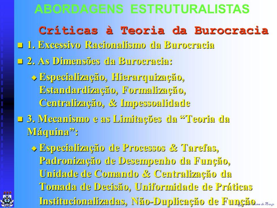 Raimundo Cosme de Araujo ABORDAGENS ESTRUTURALISTAS 1. Internalização das Regras & Exagerado Apego aos Regulamentos 1. Internalização das Regras & Exa