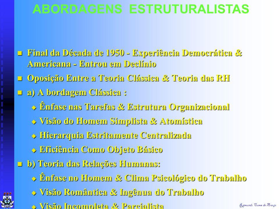 Raimundo Cosme de Araujo ABORDAGENS ESTRUTURALISTAS 4. Ética Protestante 4. Ética Protestante 5. Conservantismo da Burocracia 5. Conservantismo da Bur