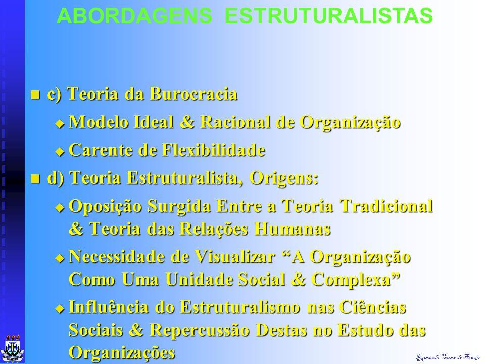 Raimundo Cosme de Araujo ABORDAGENS ESTRUTURALISTAS Final da Década de 1950 - Experiência Democrática & Americana - Entrou em Declínio Final da Década