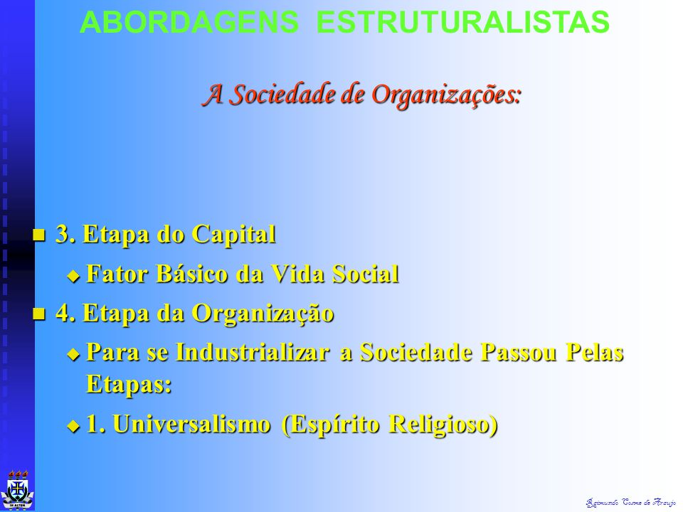 Raimundo Cosme de Araujo ABORDAGENS ESTRUTURALISTAS Sociedade Moderna - Sociedade de Organizações - Dependência do Homem Sociedade Moderna - Sociedade