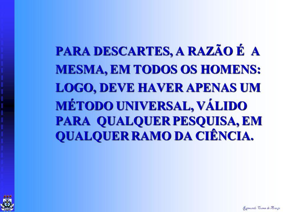 """Raimundo Cosme de Araujo DESCARTES 1596 A 1650 """"PENSO, LOGO EXISTO"""" Para Descartes, o erro situa-se no conhecimento sensível fundado nas operações de"""
