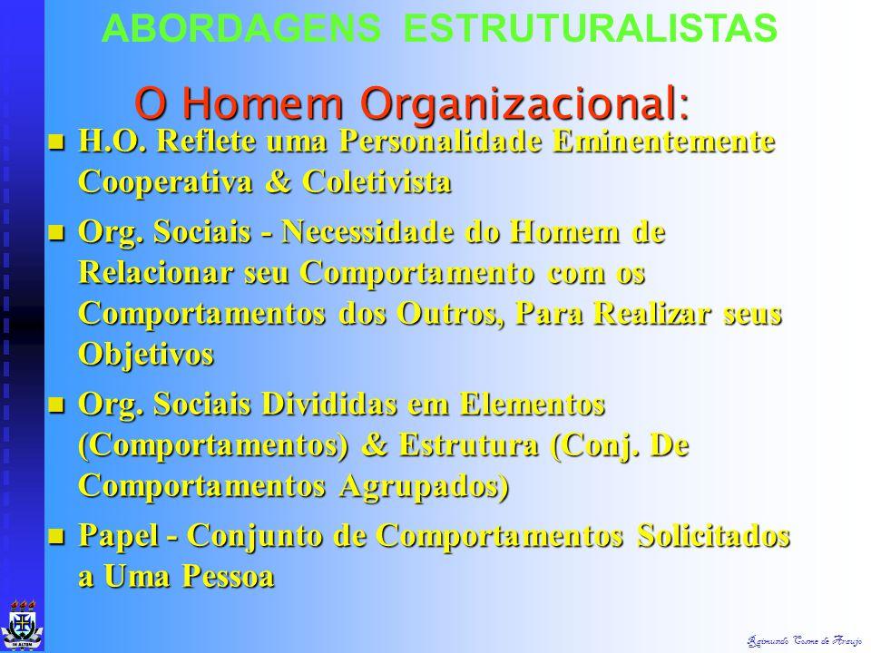 Raimundo Cosme de Araujo ABORDAGENS ESTRUTURALISTAS As Organizações: Org. Complexas - Estrutura & Processo Org. Complexas - Estrutura & Processo Com E