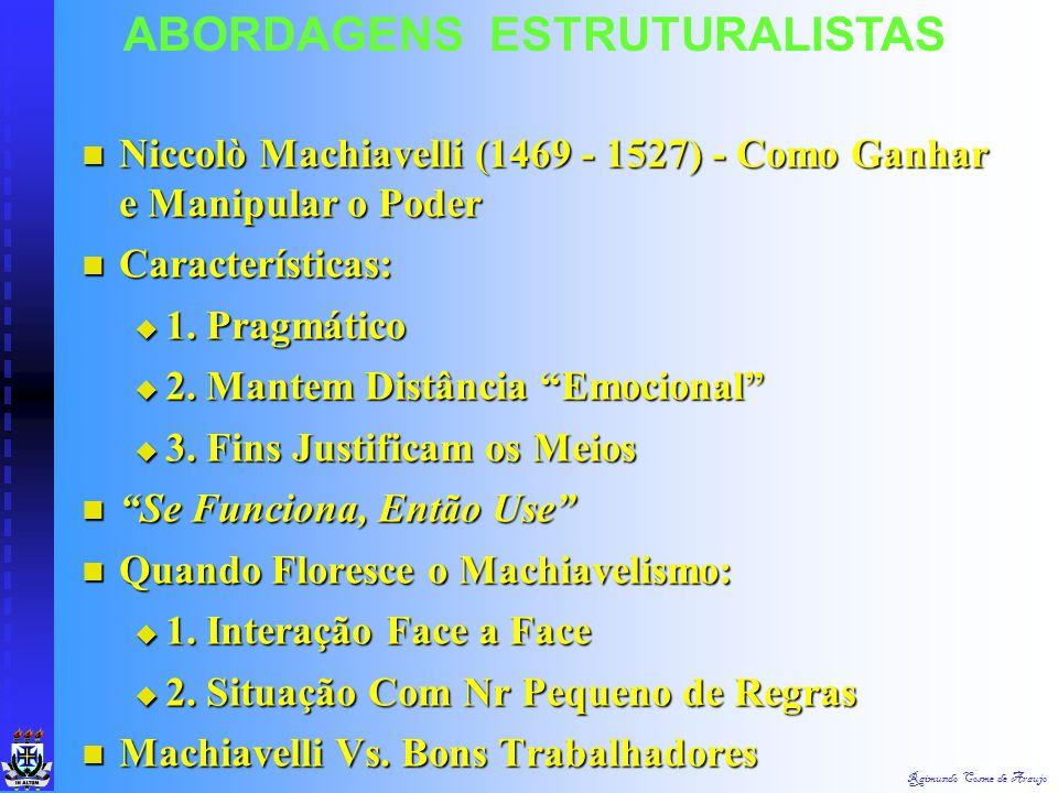 Raimundo Cosme de Araujo ABORDAGENS ESTRUTURALISTAS H.O. Reflete uma Personalidade Eminentemente Cooperativa & Coletivista H.O. Reflete uma Personalid