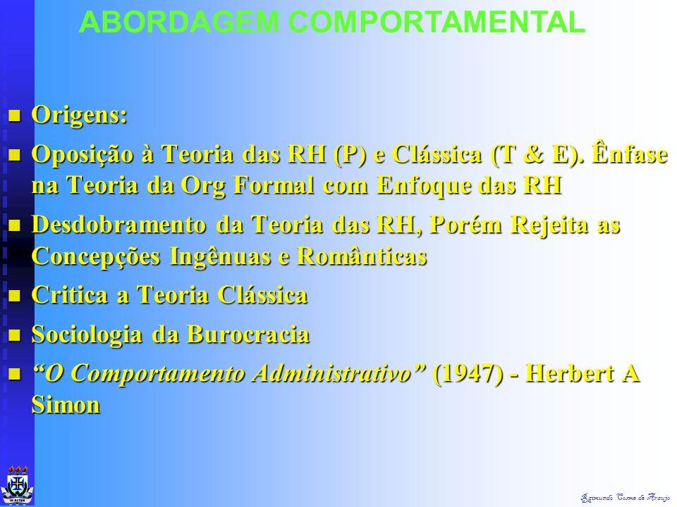 ABORDAGEM COMPORTAMENTAL Ab. Comportamental (Behaviorista) - Ênfase nas Ciências do Comportamento - Psicologia Org Ab. Comportamental (Behaviorista) -