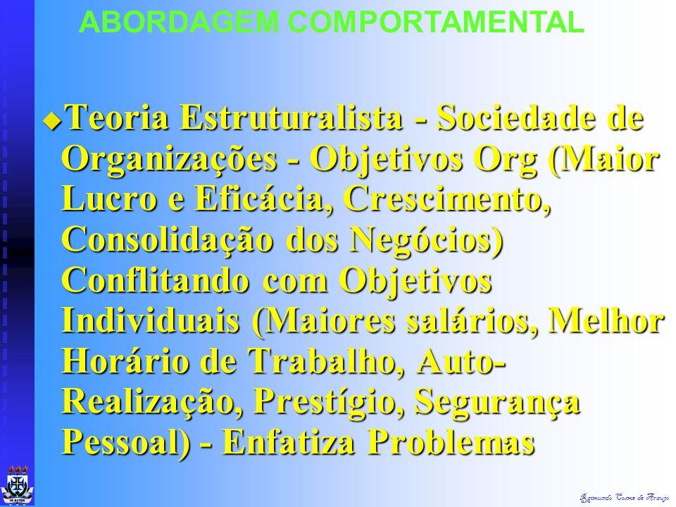 Raimundo Cosme de Araujo Teoria do Desenvolvimento Organizacional Década de 60 - Cientistas Sociais Americanos Desenvolveram Trabalhos na Área de Dese