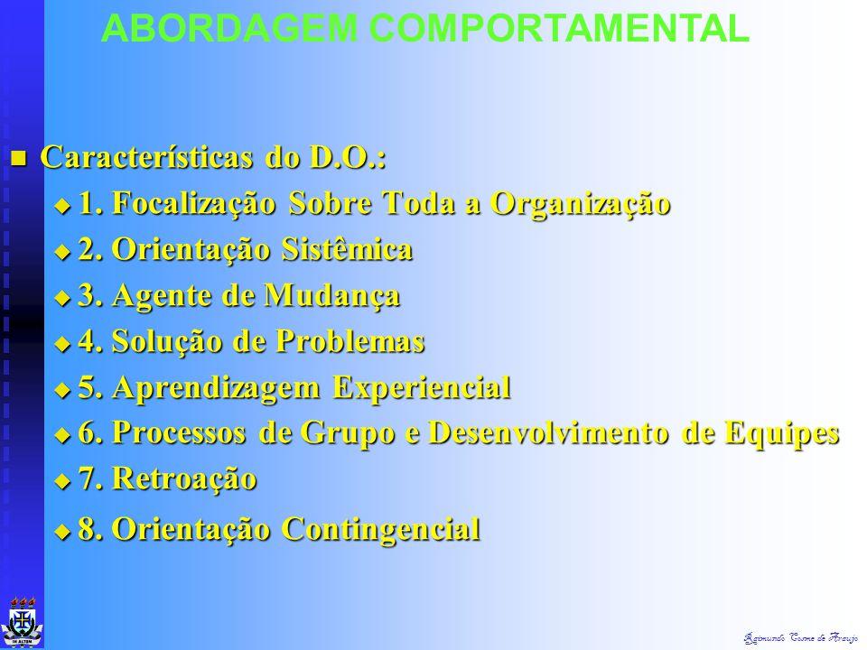 Raimundo Cosme de Araujo Implicações :  Processos de Solução Problemas  Processos de Renovação  Administração Participativa  Desenvolvimentp e For