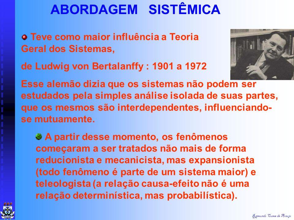 Raimundo Cosme de Araujo ABORDAGEM SISTÊMICA Fatos principais : Estudos fragmentados e reducionistas da TGA, Abordagem de Sistema Fechado, Necessidade