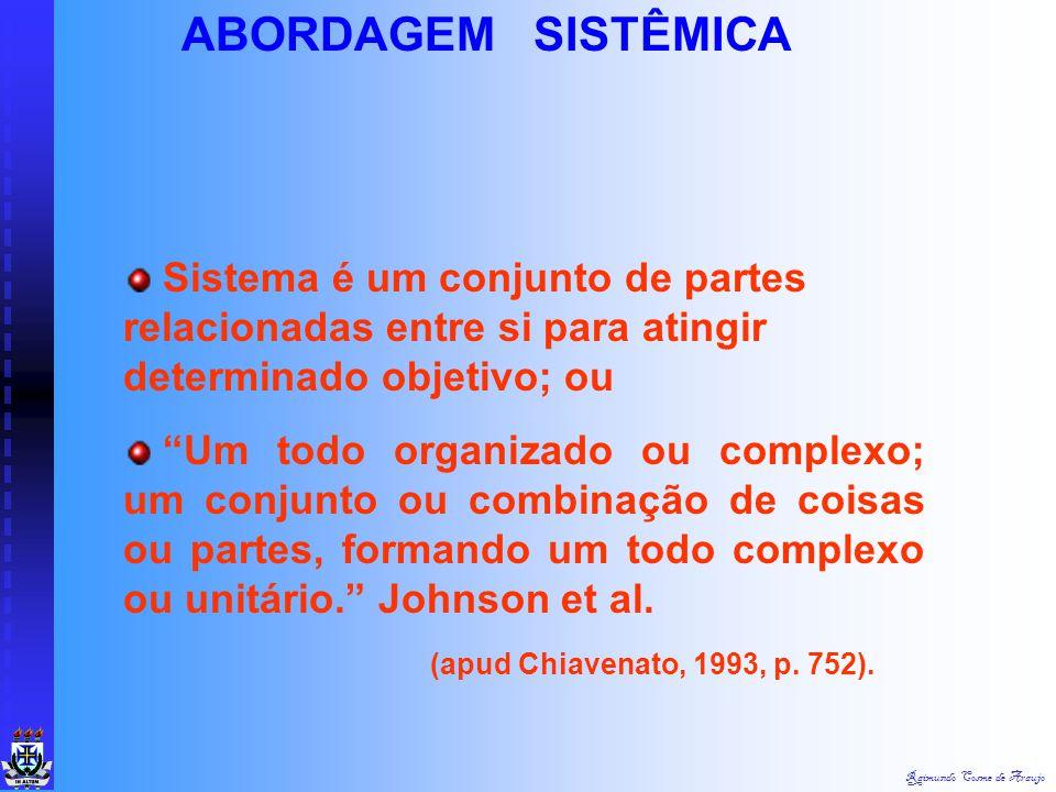 Raimundo Cosme de Araujo ABORDAGEM SISTÊMICA Teve como maior influência a Teoria Geral dos Sistemas, de Ludwig von Bertalanffy : 1901 a 1972 Esse alem