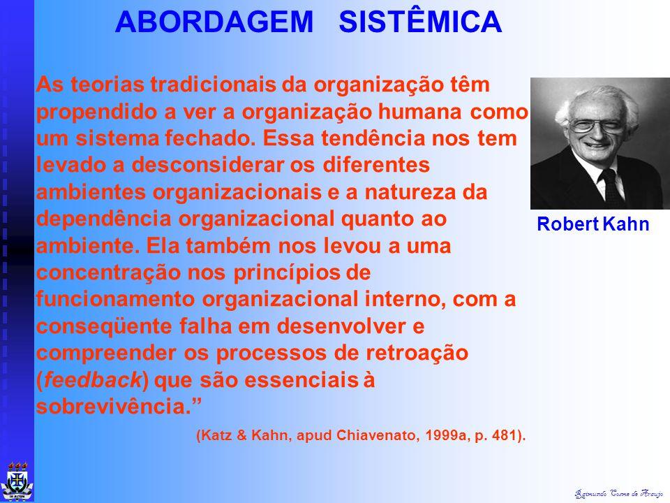 Raimundo Cosme de Araujo Quanto a sua natureza, os sistemas podem ser abertos ou fechados: Sistemas fechados são aqueles que não influenciam e nem são