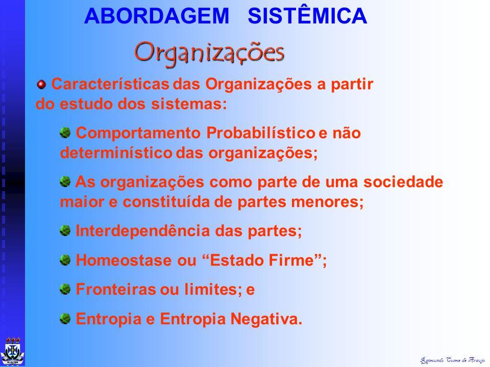 Raimundo Cosme de Araujo ABORDAGEM SISTÊMICA Saídas Feedback Economia Concorrência Tecnologia CulturaCultura SociedadeSociedade Político/ Legal Entrad