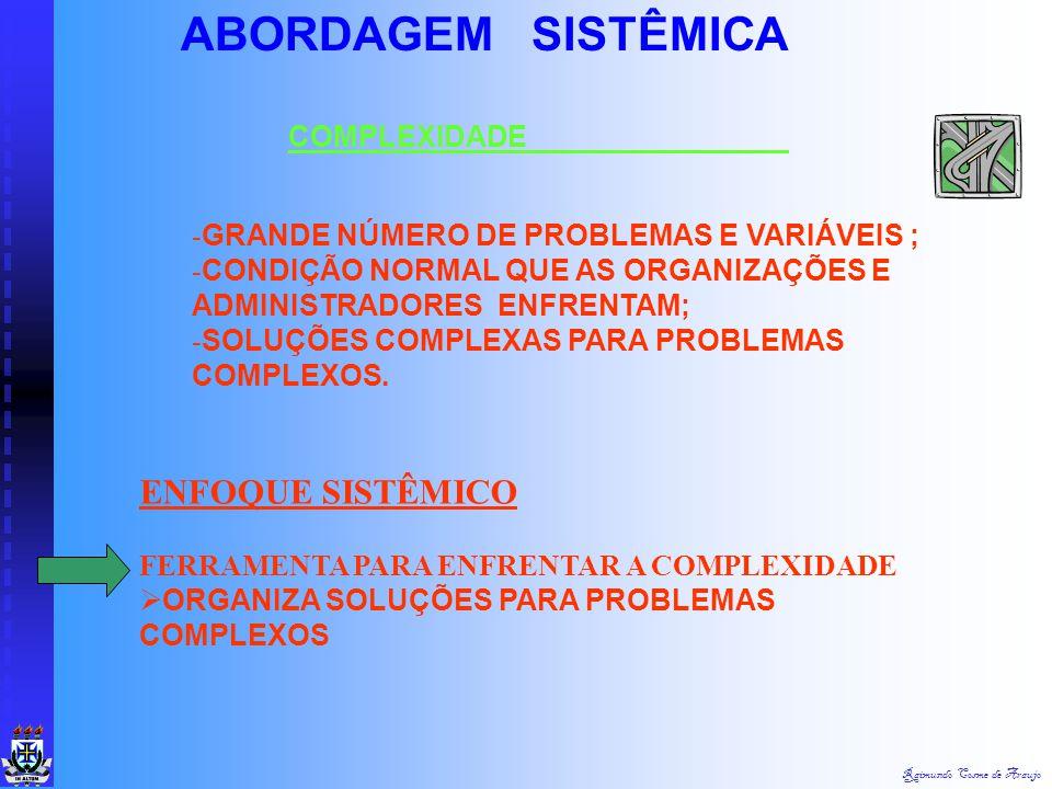Raimundo Cosme de Araujo ABORDAGEM SISTÊMICA TEORIA DOS SISTEMAS ABORDAGEM SISTÊMICA:  INTEGRAÇÃO DAS DEMAIS ABORDAGENS  DECORRÊNCIA DE: - MAIOR ESP