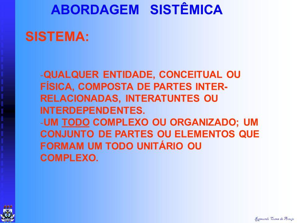 Raimundo Cosme de Araujo ABORDAGEM SISTÊMICA COMPLEXIDADE - GRANDE NÚMERO DE PROBLEMAS E VARIÁVEIS ; - CONDIÇÃO NORMAL QUE AS ORGANIZAÇÕES E ADMINISTR