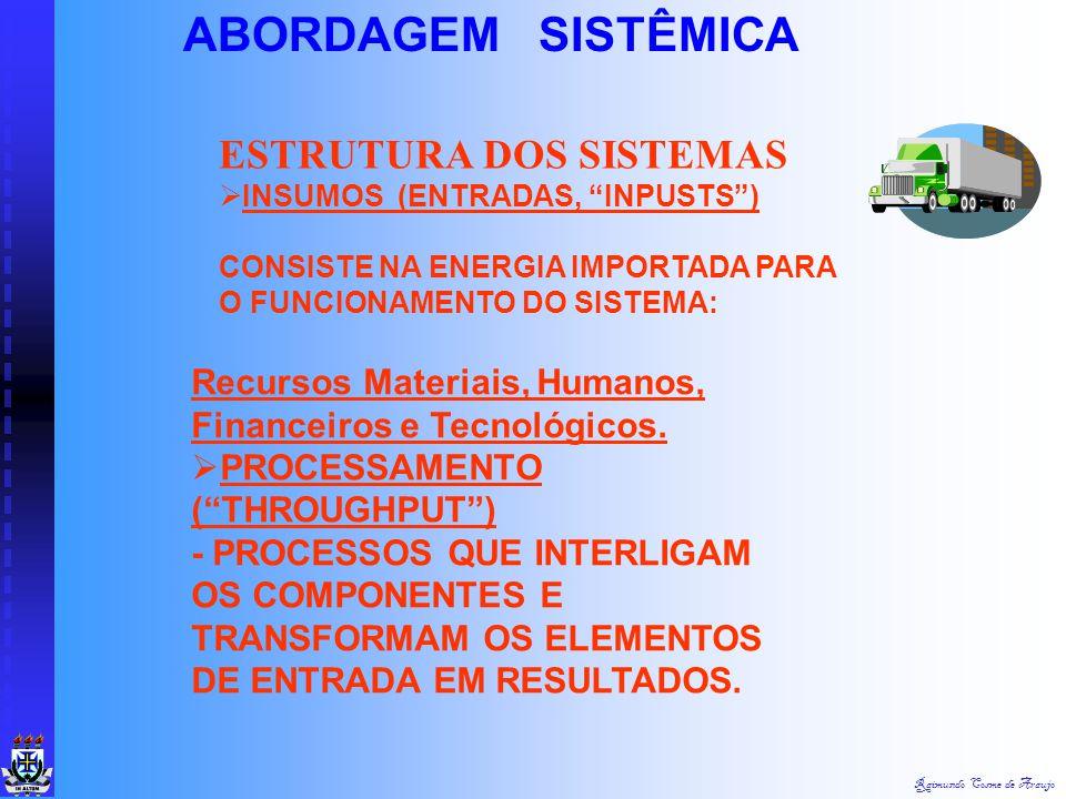 Raimundo Cosme de Araujo ABORDAGEM SISTÊMICA SISTEMA: - QUALQUER ENTIDADE, CONCEITUAL OU FÍSICA, COMPOSTA DE PARTES INTER- RELACIONADAS, INTERATUNTES