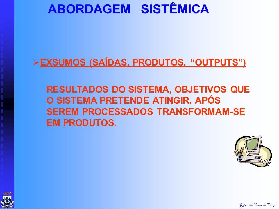"""Raimundo Cosme de Araujo ABORDAGEM SISTÊMICA ESTRUTURA DOS SISTEMAS  INSUMOS (ENTRADAS, """"INPUSTS"""") CONSISTE NA ENERGIA IMPORTADA PARA O FUNCIONAMENTO"""