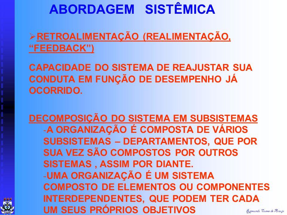 Raimundo Cosme de Araujo ABORDAGEM SISTÊMICA  ENTROPIA - É A TENDÊNCIA QUE OS ORGANISMOS TÊM À DESAGREGAÇÃO.  HOMEOSTASE (ENTROPIA NEGATIVA) - O PRO