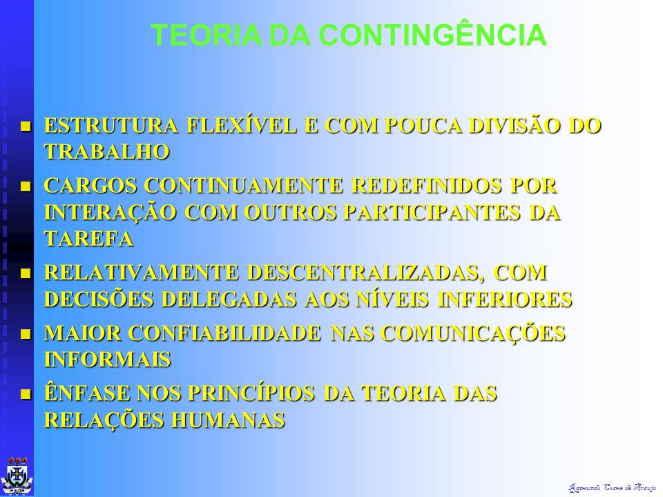 Raimundo Cosme de Araujo TEORIA DA CONTINGÊNCIA ESTRUTURA BUROCRÁTICA BASEADA EM DIVISÃO DE TRABALHO RÍGIDA ESTRUTURA BUROCRÁTICA BASEADA EM DIVISÃO D