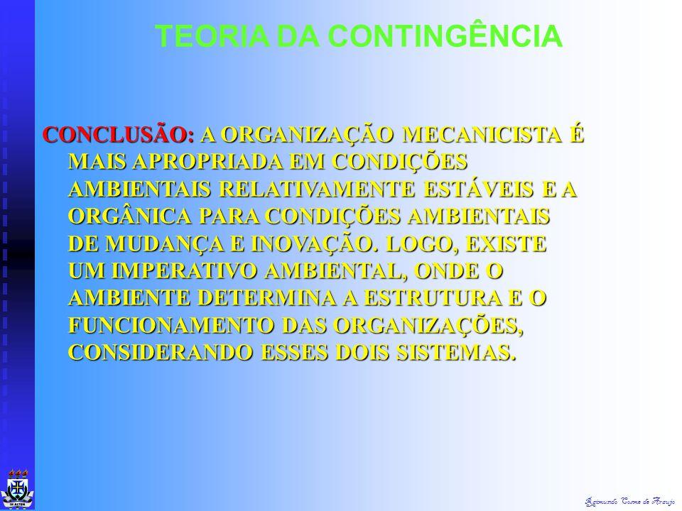Raimundo Cosme de Araujo TEORIA DA CONTINGÊNCIA ESTRUTURA FLEXÍVEL E COM POUCA DIVISÃO DO TRABALHO ESTRUTURA FLEXÍVEL E COM POUCA DIVISÃO DO TRABALHO