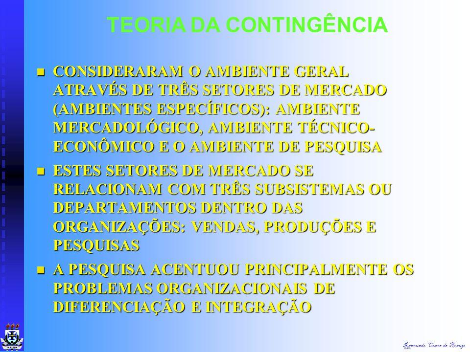 Raimundo Cosme de Araujo TEORIA DA CONTINGÊNCIA CONCLUSÃO: A ORGANIZAÇÃO MECANICISTA É MAIS APROPRIADA EM CONDIÇÕES AMBIENTAIS RELATIVAMENTE ESTÁVEIS
