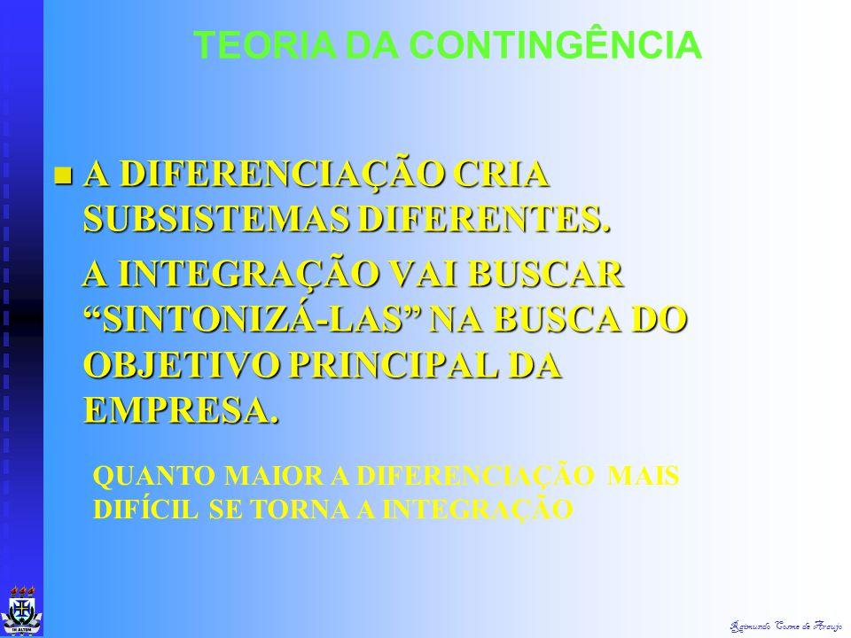 Raimundo Cosme de Araujo TEORIA DA CONTINGÊNCIA CORRESPONDÊNCIA ENTRE AMBIENTES ESPECÍFICOS E SUBSISTEMAS