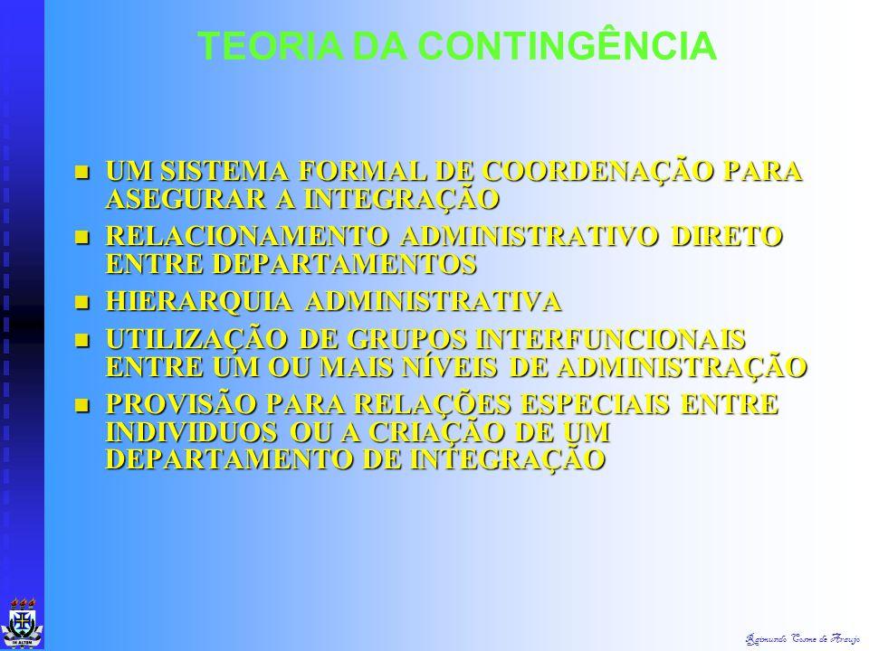 Raimundo Cosme de Araujo TEORIA DA CONTINGÊNCIA A DIFERENCIAÇÃO CRIA SUBSISTEMAS DIFERENTES. A DIFERENCIAÇÃO CRIA SUBSISTEMAS DIFERENTES. A INTEGRAÇÃO