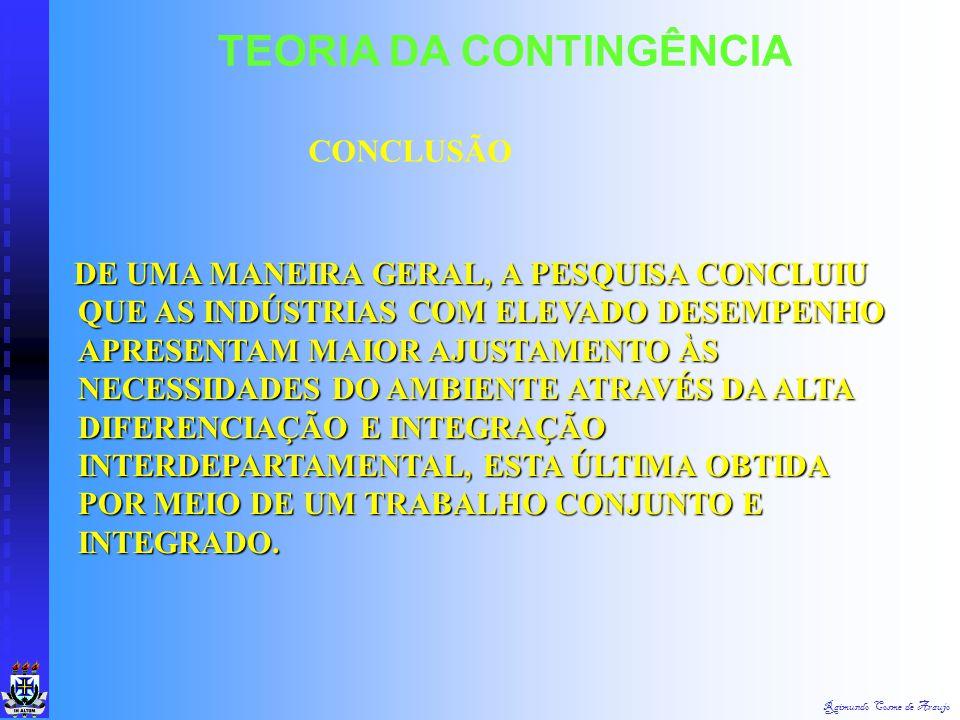 Raimundo Cosme de Araujo TEORIA DA CONTINGÊNCIA Graus de Diferenciação e de Integração nos Defrontamentos com o Ambiente de Tarefa EntradasSaídas Retr