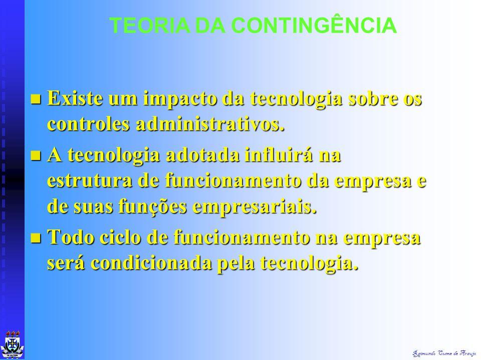 Raimundo Cosme de Araujo TEORIA DA CONTINGÊNCIA Desempenho organizacional é afetado pela tecnologia utilizada. Desempenho organizacional é afetado pel