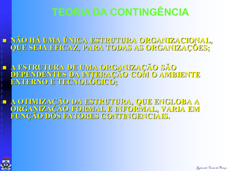 Raimundo Cosme de Araujo TEORIA DA CONTINGÊNCIA Existe um impacto da tecnologia sobre os controles administrativos. Existe um impacto da tecnologia so