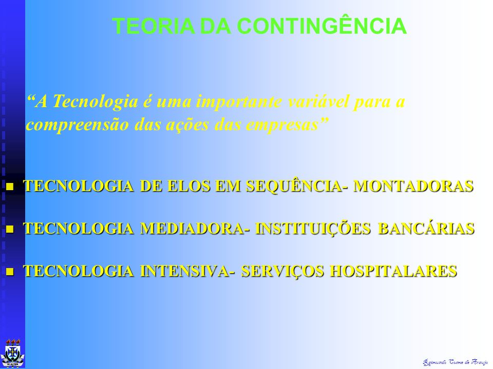 Raimundo Cosme de Araujo TEORIA DA CONTINGÊNCIA EM FUNÇÃO DOS DESAFIOS DO AMBIENTE E DA TECNOLOGIA, A ORGANIZAÇÃO DEVE ESTRUTURAR-SE INTERNA E EXTERNA
