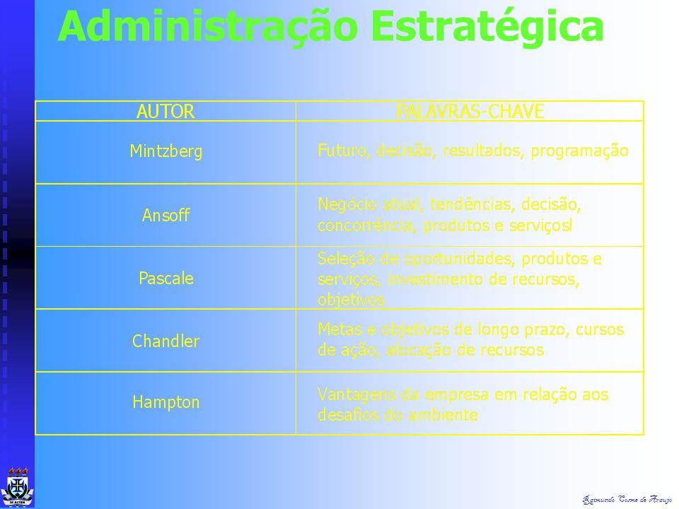 Raimundo Cosme de Araujo Administração Estratégica Estratégia é uma palavra herdada dos gregos, que a usavam para designar a arte dos generais. Estrat
