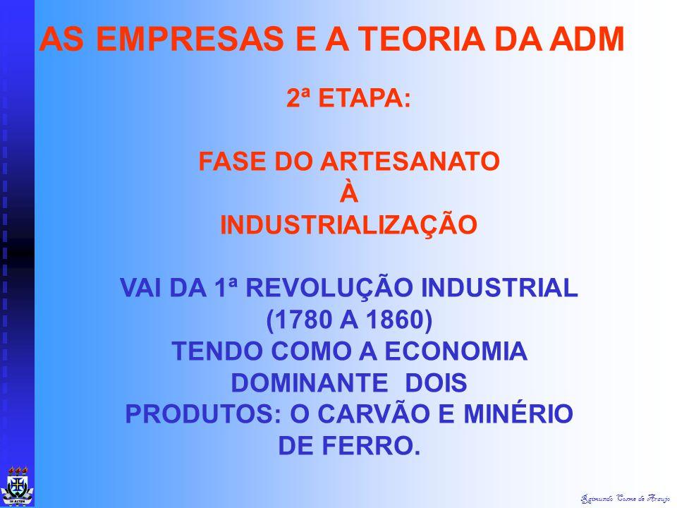 Raimundo Cosme de Araujo 1ª ETAPA: FASE ARTESANAL As pessoas viviam no meio rural, em pequenas oficinas artesanais; A relação entre os donos da oficin