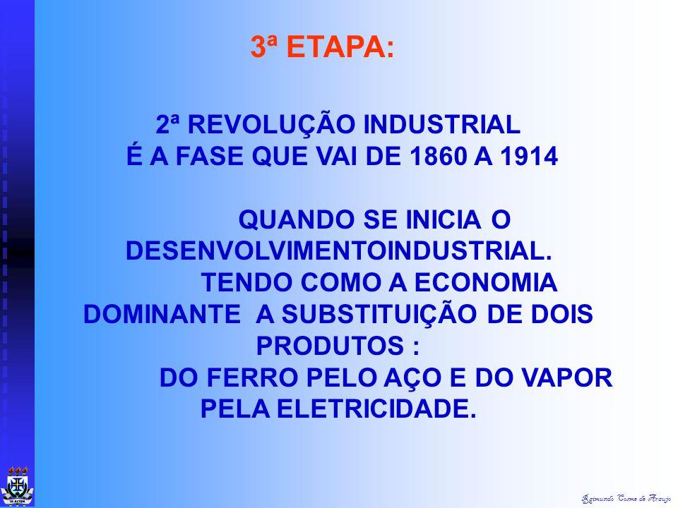 Raimundo Cosme de Araujo REVOLUÇÃO INDUSTRIAL Segundo Chiavenato (1999), a primeira fase da Revolução Industrial pode ser dividida em 4 etapas: 1.A me