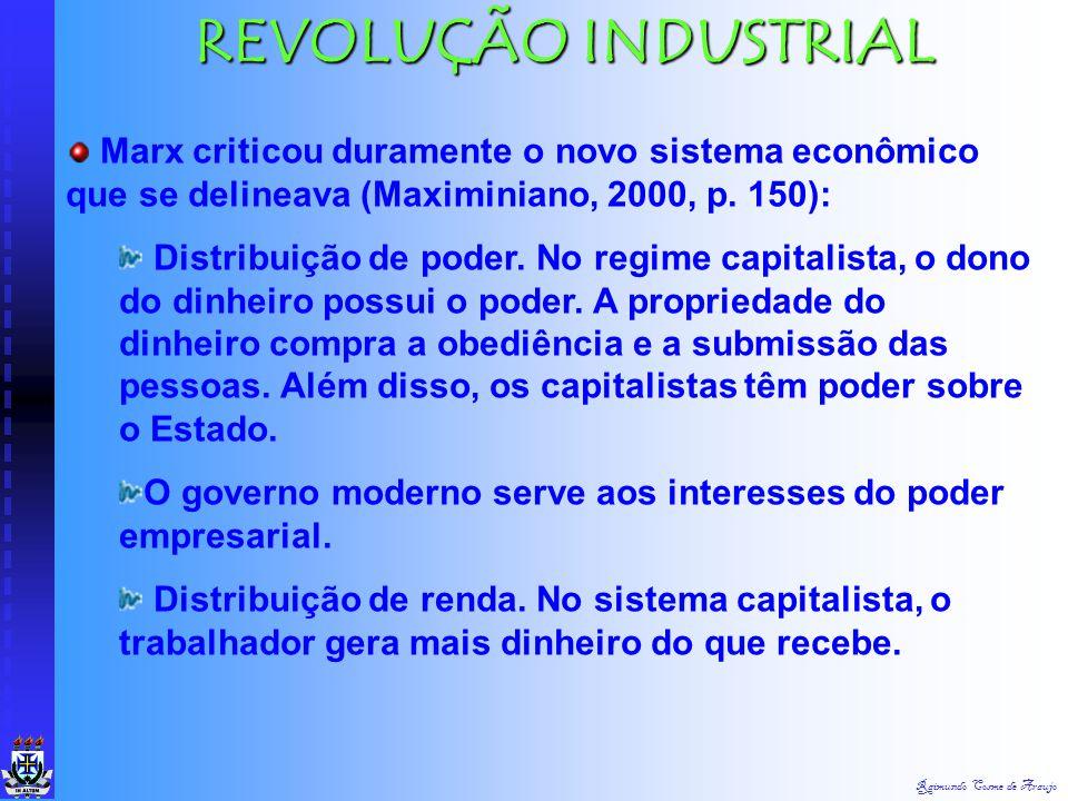 Raimundo Cosme de Araujo REVOLUÇÃO INDUSTRIAL Algumas conseqüências: As pessoas foram para as cidades; Mulheres e Crianças trabalhavam 14 horas por di