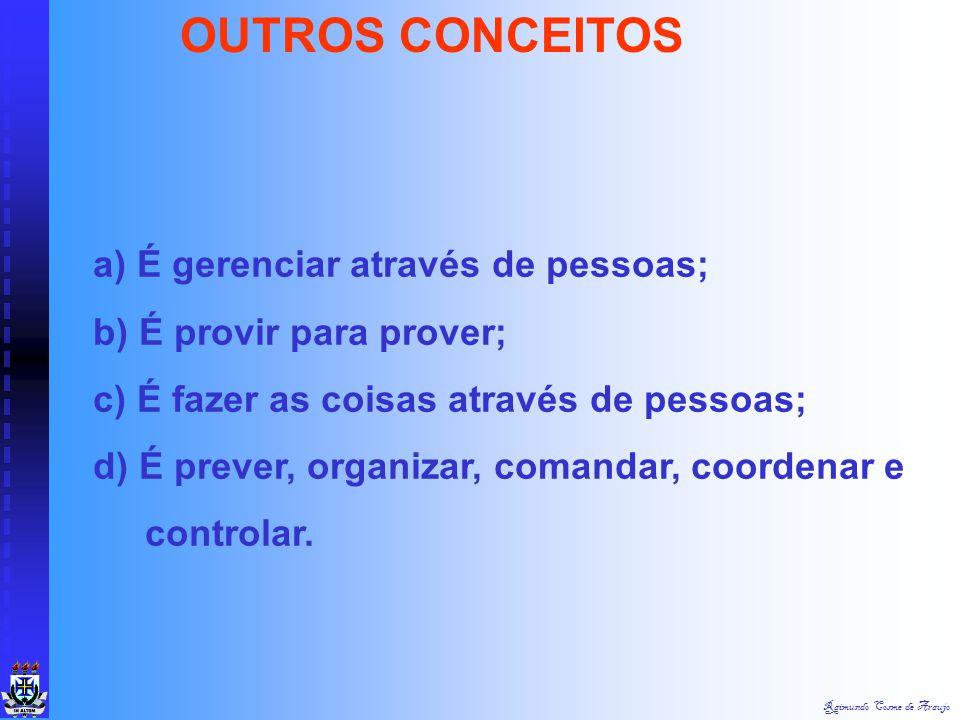 Raimundo Cosme de AraujoADMINISTRAÇÃO ADMINISTRAR: SIGNIFICA AÇÃO DE PRESTAR SERVIÇOS OU AJUDAR. ADMINISTRAR = VEM DO LATIM: AD = JUNTO DE MINISTRAR =
