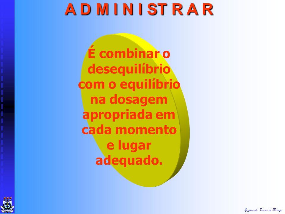 Raimundo Cosme de Araujo A D M I N I ST R A R É gerir o desequilíbrio e conviver produtivamente com diferentes formas de anarquia organizada.