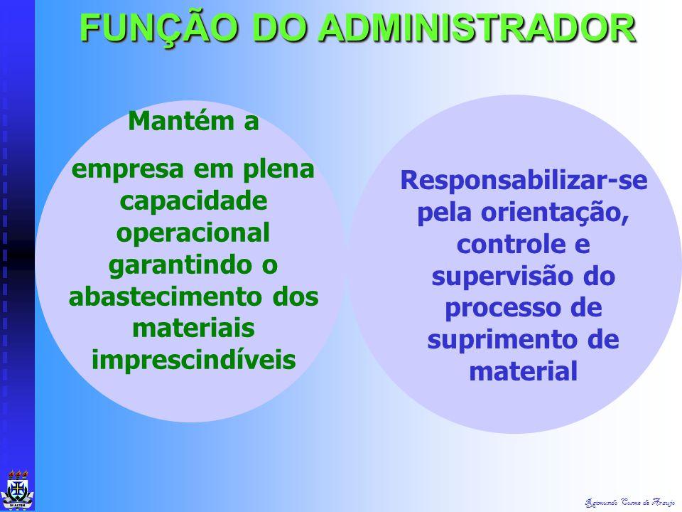 Raimundo Cosme de Araujo FUNÇÃO DA ADMINISTRAÇÃO Destina-se a capacitar o administrador dos meios necessários ao suprimento de materiais imprescindíve