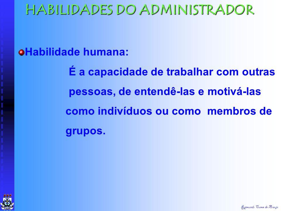 Raimundo Cosme de Araujo HABILIDADES DO ADMINISTRADOR Habilidade técnica: É a capacidade de usar os procedimentos, técnicas e conhecimentos de um camp