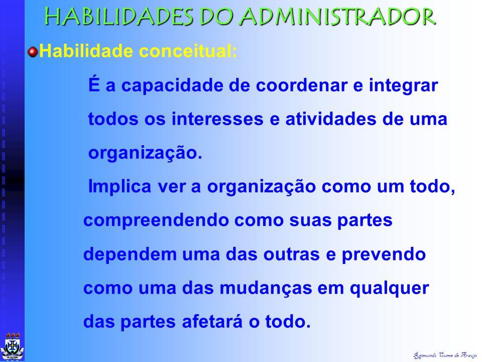 Raimundo Cosme de Araujo HABILIDADES DO ADMINISTRADOR Habilidade humana: É a capacidade de trabalhar com outras pessoas, de entendê-las e motivá-las c